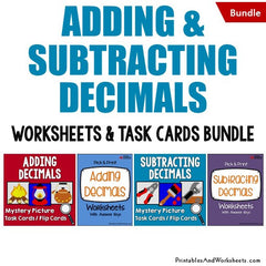 Adding and Subtracting Decimals Task Cards and Worksheets Bundle