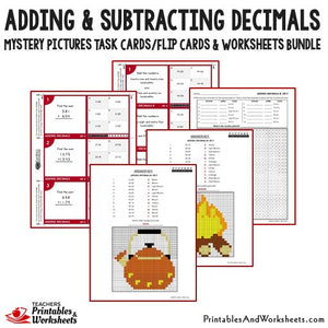 Adding and Subtracting Decimals Worksheets Mystery Picture Task Cards Bundle Sample 1