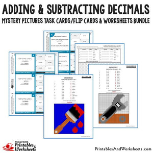 Adding and Subtracting Decimals Worksheets Mystery Picture Task Cards Bundle Sample 2