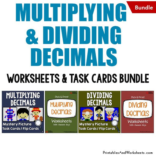 Multiplying and Dividing Decimals Bundle - Worksheets and Mystery Pictures Task Cards