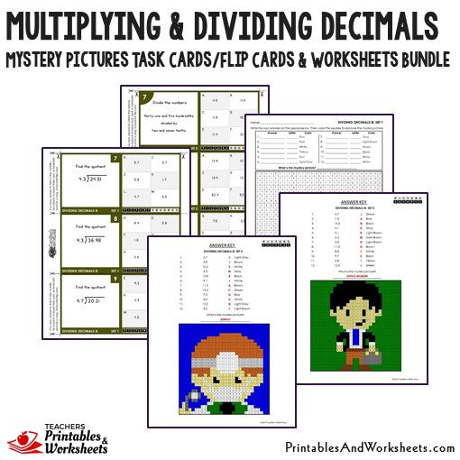 multiplying and dividing decimals task cards and worksheets bundle printables worksheets. Black Bedroom Furniture Sets. Home Design Ideas