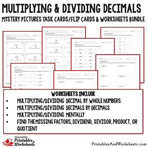 Multiplying and Dividing Decimals Task Cards and Worksheets Bundle – Dividing Decimals by Decimals Worksheets Printable