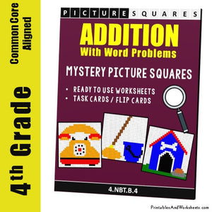 Grade 4 Addition Mystery Pictures Coloring Worksheets/Task Cards