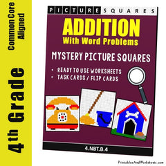 4th Grade Addition Mystery Pictures Coloring Worksheets/Task Cards