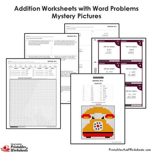 Grade 4 Addition Mystery Pictures Coloring Worksheets/Task Cards - Telephone