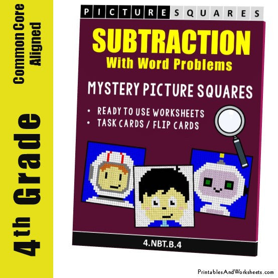 Grade 4 Subtraction Mystery Pictures Coloring Worksheets / Task Cards