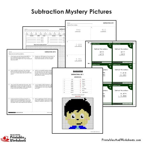 Grade 4 Subtraction Mystery Pictures Coloring Worksheets / Task Cards - Boy