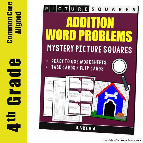 Grade 4 Addition Word Problems Mystery Pictures Coloring Worksheet / Task Cards