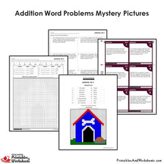 4th Grade Addition Word Problems Mystery Pictures Coloring Worksheet/Task Cards