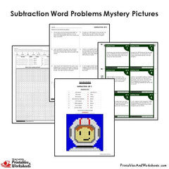 4th Grade Subtraction Word Problems Mystery Pictures Coloring Worksheet/Task Cards