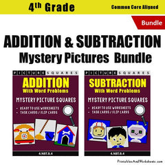 4th Grade Addition and Subtraction Mystery Pictures Coloring Worksheets/Task Cards Bundle
