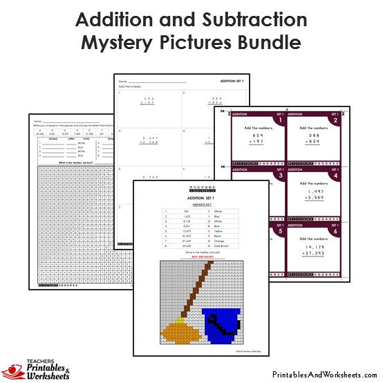 Grade Addition and Subtraction Mystery Pictures Coloring Worksheets/Task Cards - Mop