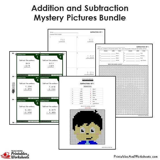 Grade Addition and Subtraction Mystery Pictures Coloring Worksheets/Task Cards - Boy