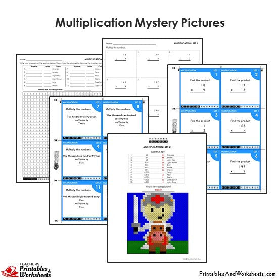 Grade 4 Multiplication Coloring Worksheets / Task Cards - Knight