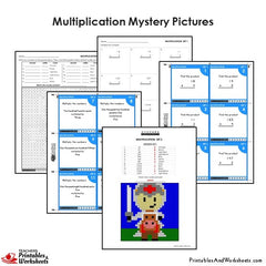 4th Grade Multiplication Mystery Pictures Coloring Worksheets / Task Cards