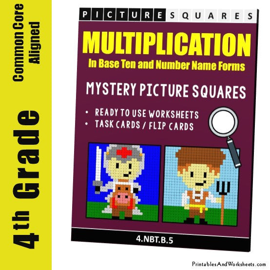 Grade 4 Multiplication Mystery Pictures Coloring Worksheets / Task Cards