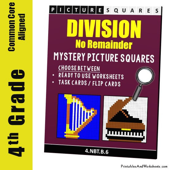 Grade 4 Division (No Remainder) Mystery Pictures Coloring Worksheets / Task Cards
