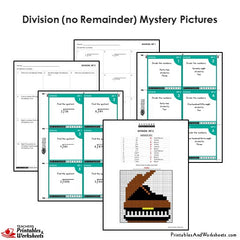 4th Grade Division (Exact) Mystery Pictures Coloring Worksheets / Task Cards
