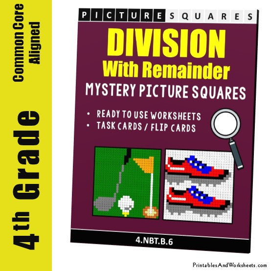Grade 4 Division With Remainder Mystery Pictures Coloring Worksheets / Task Cards