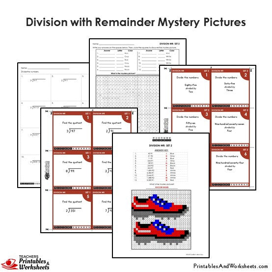Grade 4 Division With Remainder Mystery Pictures Coloring Worksheets / Task Cards - Shoes