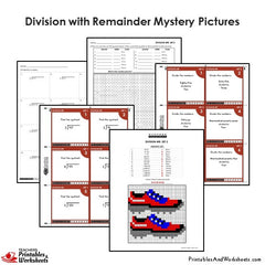 4th Grade Division With Remainder Mystery Pictures Coloring Worksheets / Task Cards