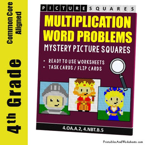Grade 4 Multiplication Word Problems Mystery Pictures Coloring Worksheets / Task Cards
