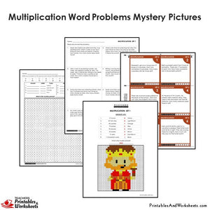 Grade 4 Multiplication Word Problems Coloring Worksheets / Task Cards - King