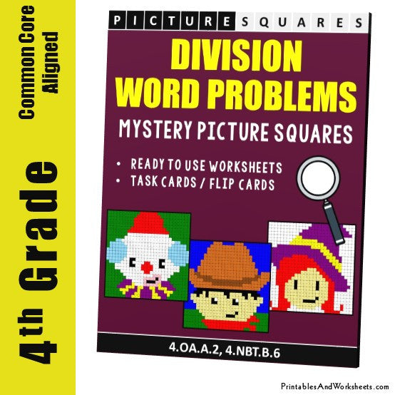 Grade 4 Division Word Problems Mystery Pictures Coloring Worksheets / Task Cards