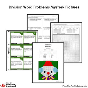 Grade 4 Division Word Problems Mystery Pictures Coloring Worksheets / Task Cards - Clown
