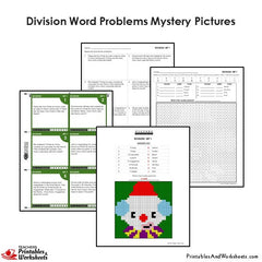 4th Grade Division Word Problems Mystery Pictures Coloring Worksheets / Task Cards
