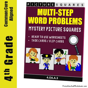 Grade 4 Multi-Step Word Problems Mystery Pictures Coloring Worksheets / Task Cards