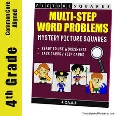 4th Grade Multi-Step Word Problems Mystery Pictures Coloring Worksheets / Task Cards