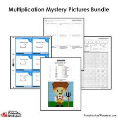 4th Grade Multiplication Mystery Pictures Coloring Worksheets / Task Cards Bundle