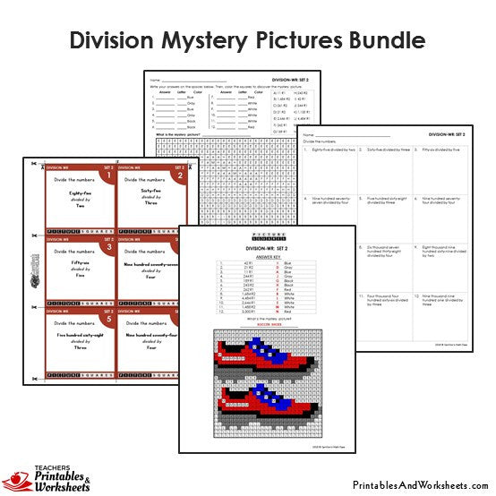 Grade 4 Division Mystery Pictures Coloring Worksheets / Flip Cards Bundle - Shoes