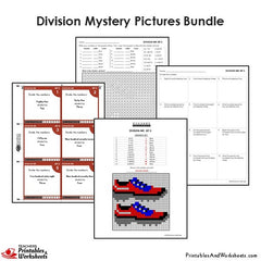 4th Grade Division Mystery Pictures Coloring Worksheets/Task Cards Bundle