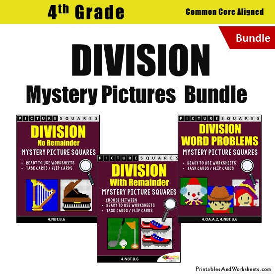 Grade 4 Division Mystery Pictures Coloring Worksheets / Flip Cards Bundle