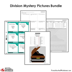 Grade 4 Division Mystery Pictures Coloring Worksheets / Flip Cards Bundle - Piano