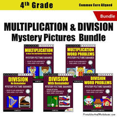 4th Grade Multiplication and Division Mystery Pictures Coloring Worksheets / Task Cards Bundle