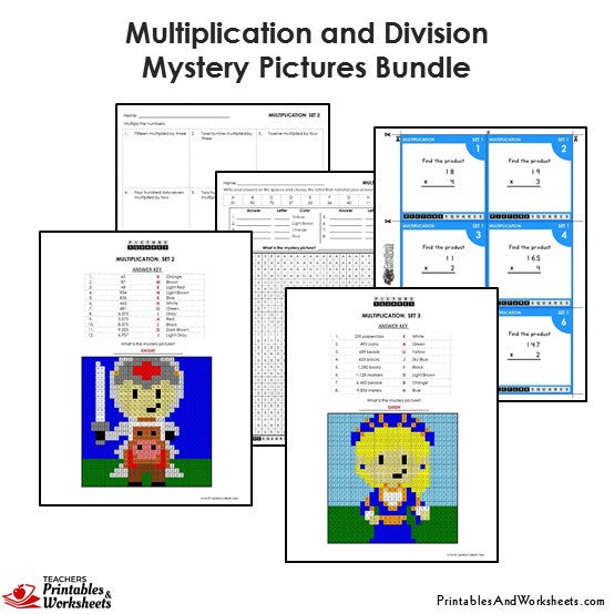 Grade 4 Multiplication and Division Mystery Pictures - Sample 1