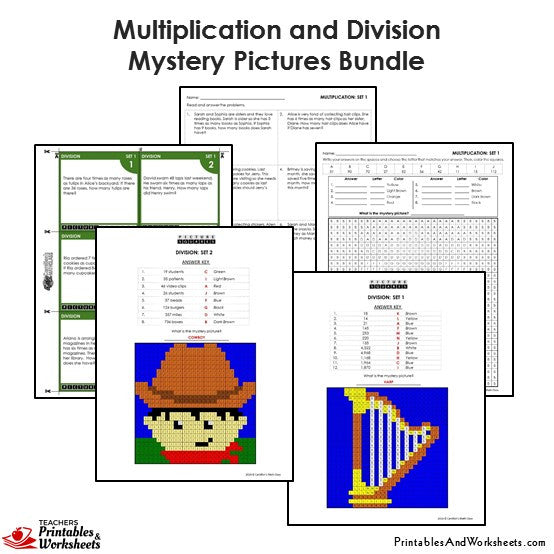 Grade 4 Multiplication and Division Coloring Worksheets / Task Cards - Sample 2