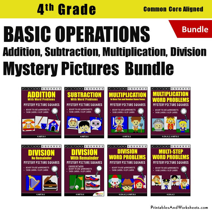Grade 4 Basic Operations (Add, Subtract, Multiply, Divide) Mystery Pictures Coloring Worksheets / Task Cards