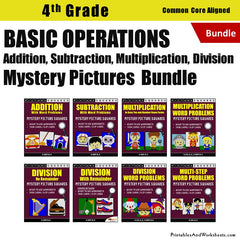 4th Grade Basic Operations (Add, Subtract, Multiply, Divide) Mystery Pictures Coloring Worksheets/Task Cards Bundle