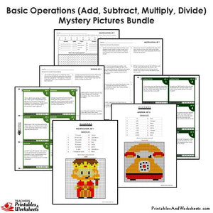 Grade 4 Basic Operations Mystery Pictures Coloring Worksheets / Task Cards - Sample 2