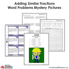 4th Grade Adding Similar Fractions Word Problems Mystery Pictures Coloring Worksheets