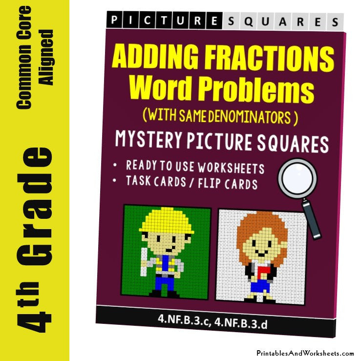 Grade 4 Adding Fractions Same Denominator Word Problems Mystery Pictures Coloring Worksheets/Task Cards