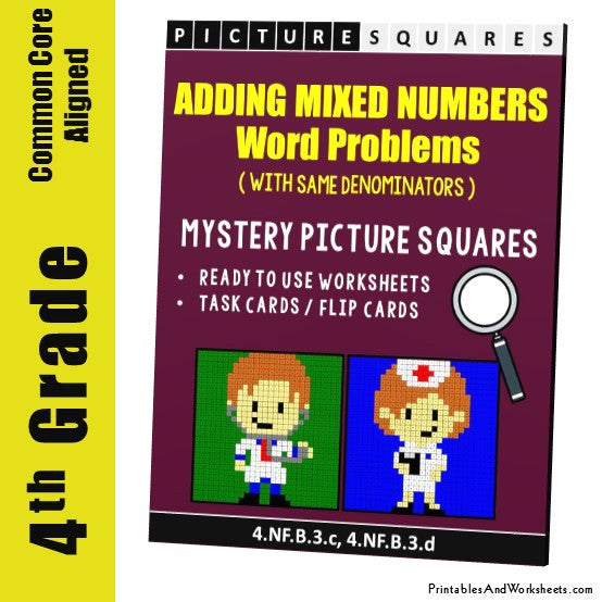 Grade 4 Adding Mixed Numbers Same Denominator Word Problems Coloring Worksheet/Task Cards
