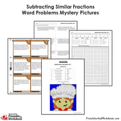 4th Grade Subtracting Similar Fractions Word Problems Mystery Pictures Coloring Worksheets / Task Cards