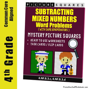 Grade 4 Subtracting Similar Mixed Numbers Word Problems Coloring Worksheets / Task Cards