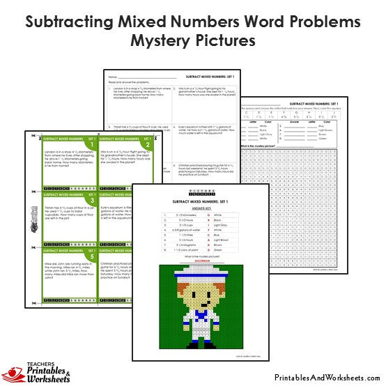 Grade 4 Subtracting Similar Mixed Numbers Word Problems Mystery Pictures