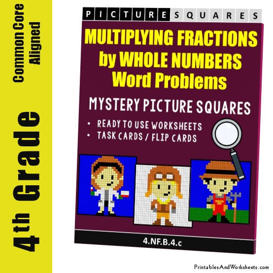 Grade 4 Multiplying Fractions by Whole Numbers Word Problems Coloring Worksheets / Task Cards
